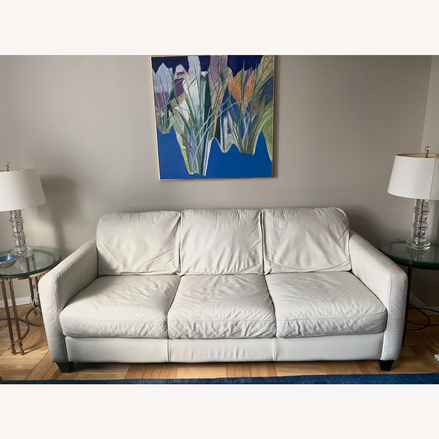 Macy's White Leather Three-seater Couch - image-4