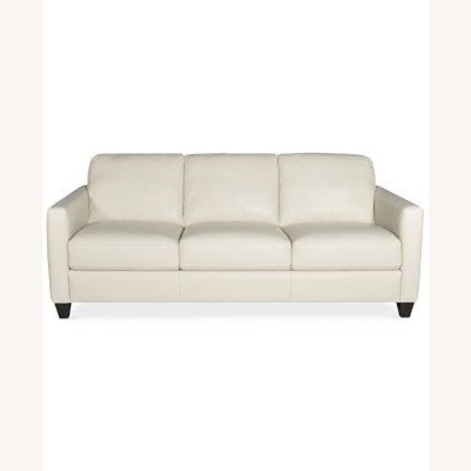 Macy's White Leather Three-seater Couch - image-8