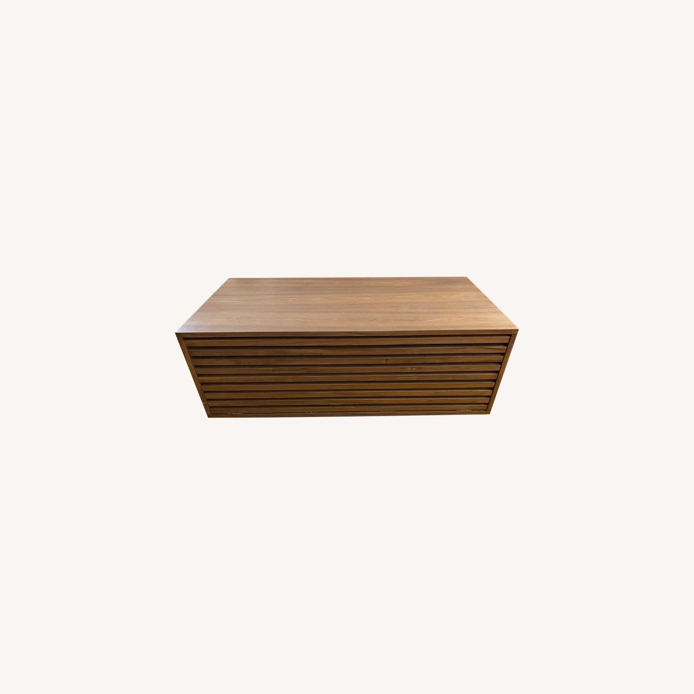 West Elm Slatted Wood Storage Coffee Table - image-0