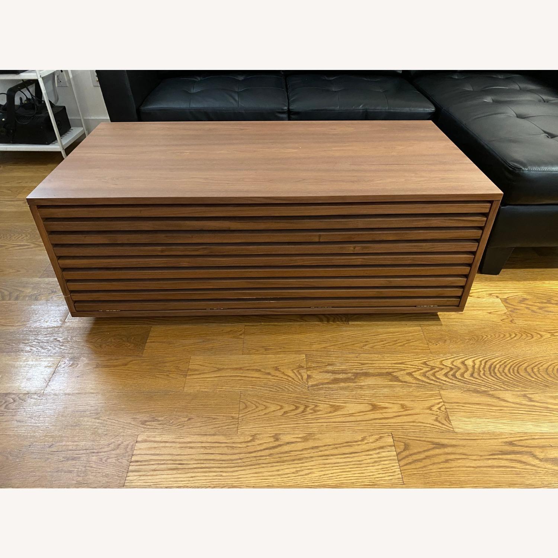 West Elm Slatted Wood Storage Coffee Table - image-2
