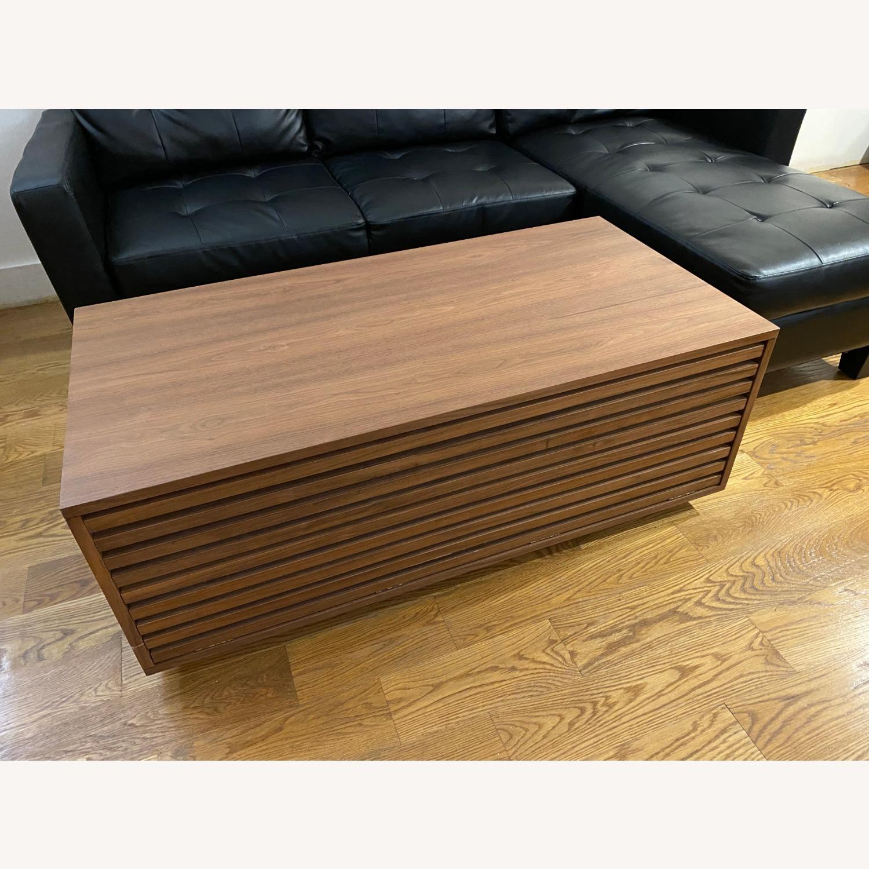 West Elm Slatted Wood Storage Coffee Table - image-1