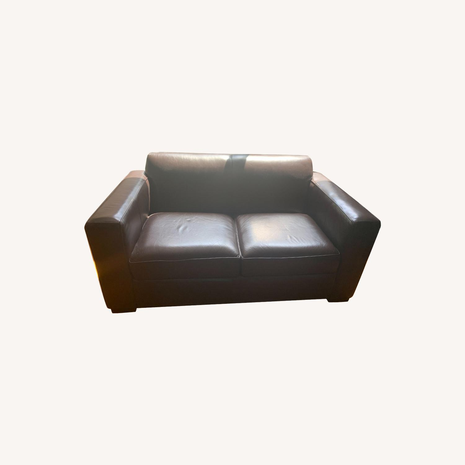 Room & Board Brown Leather Loveseat - image-0