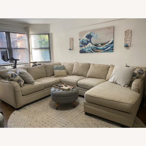 Used Ashley Home Luxora Beige 4-Piece Sectional Sofa for sale on AptDeco