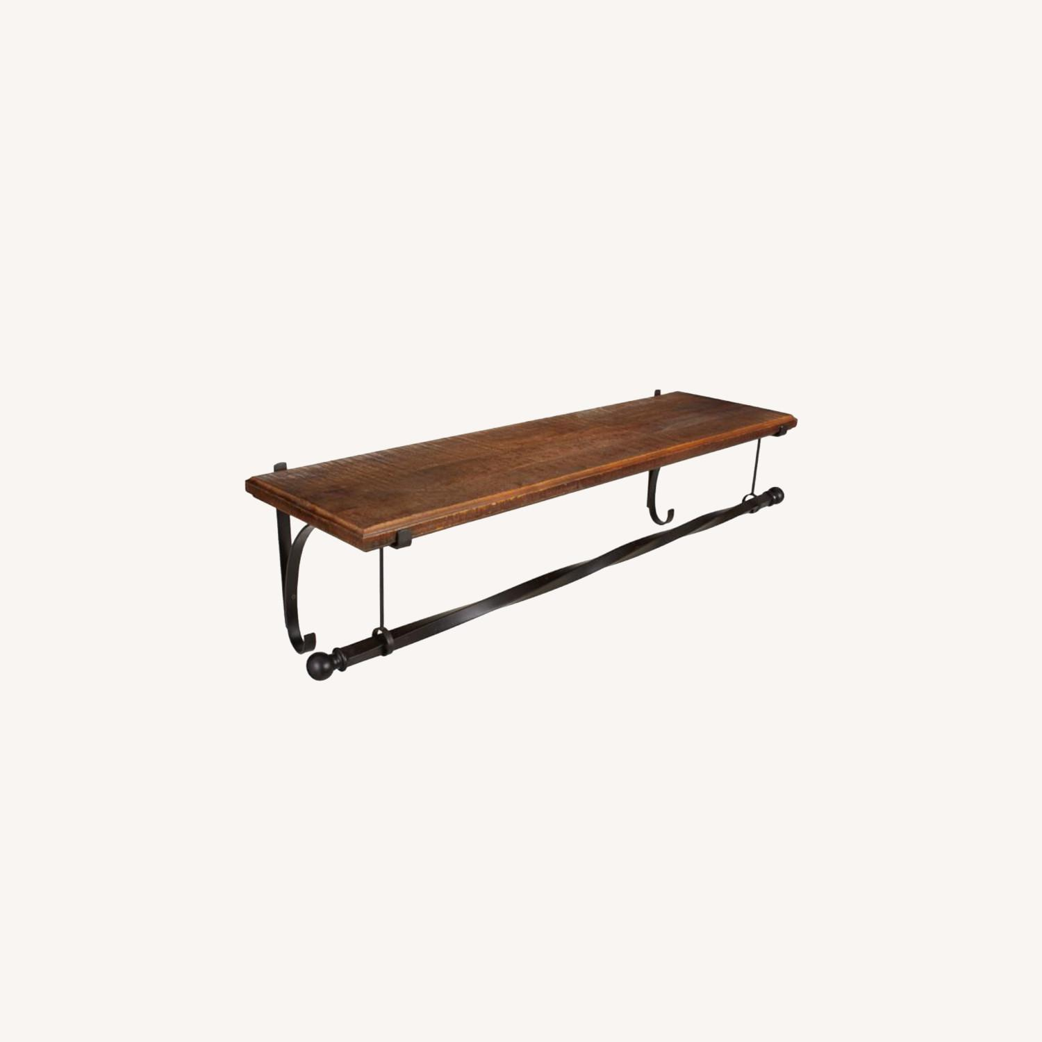 Pottery BarnWall-Mount Wood Shelf with Metal Clothes Rod, 4' - image-0