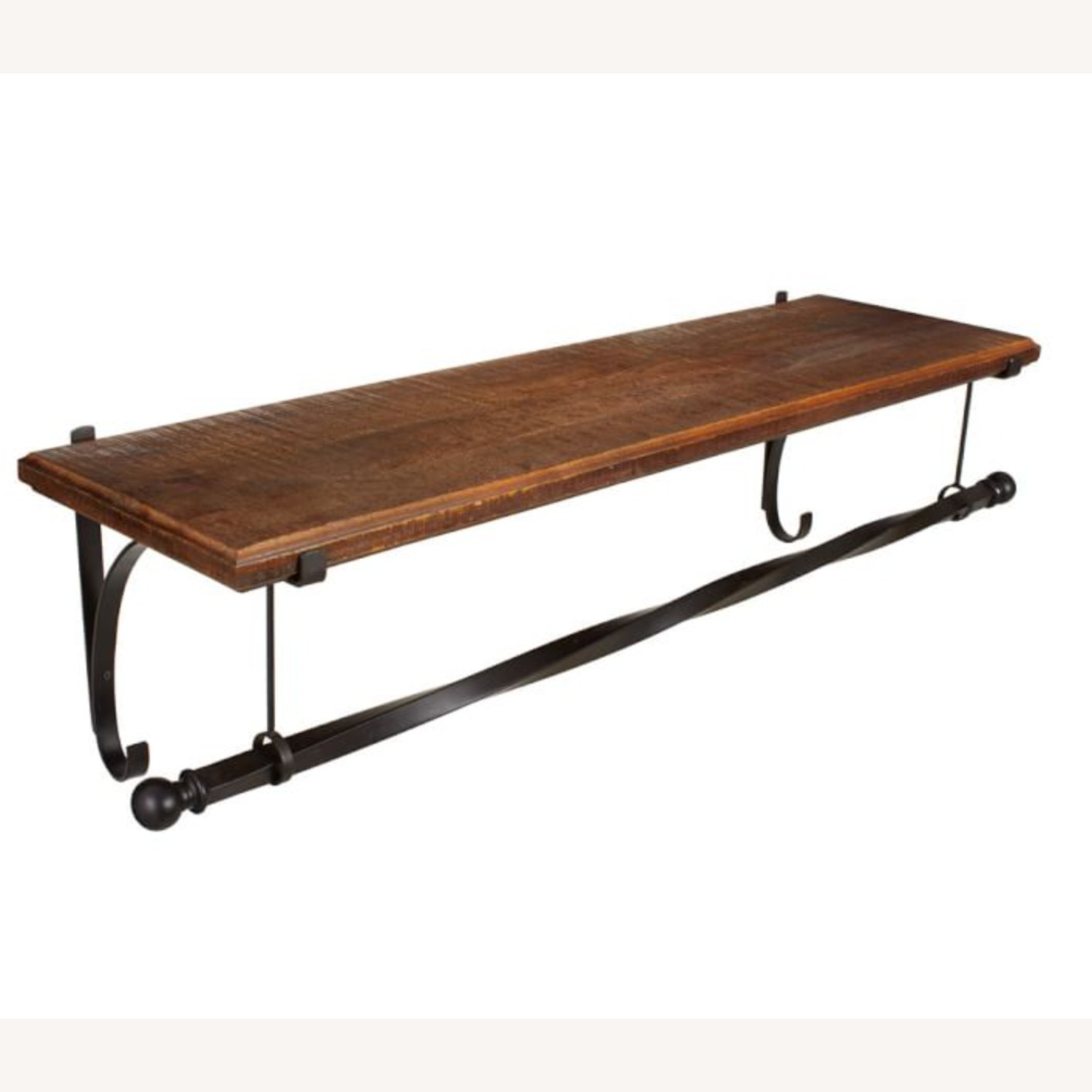 Pottery BarnWall-Mount Wood Shelf with Metal Clothes Rod, 4' - image-1