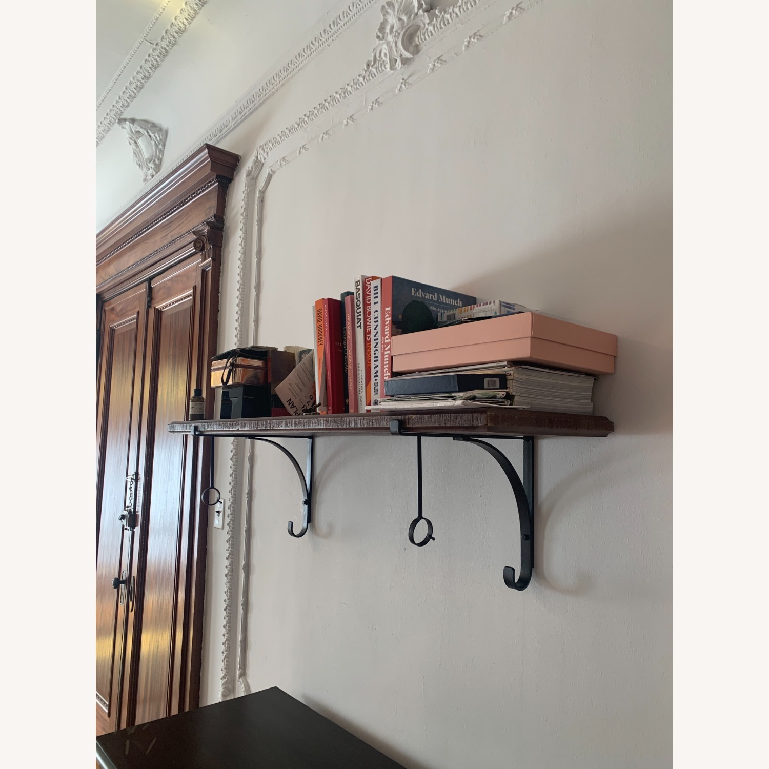 Pottery BarnWall-Mount Wood Shelf with Metal Clothes Rod, 4' - image-3