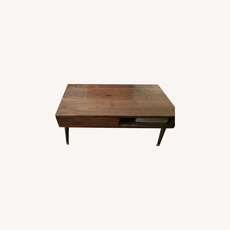 Solid Dark Walnut Mid Century Style Coffee Table - image-0