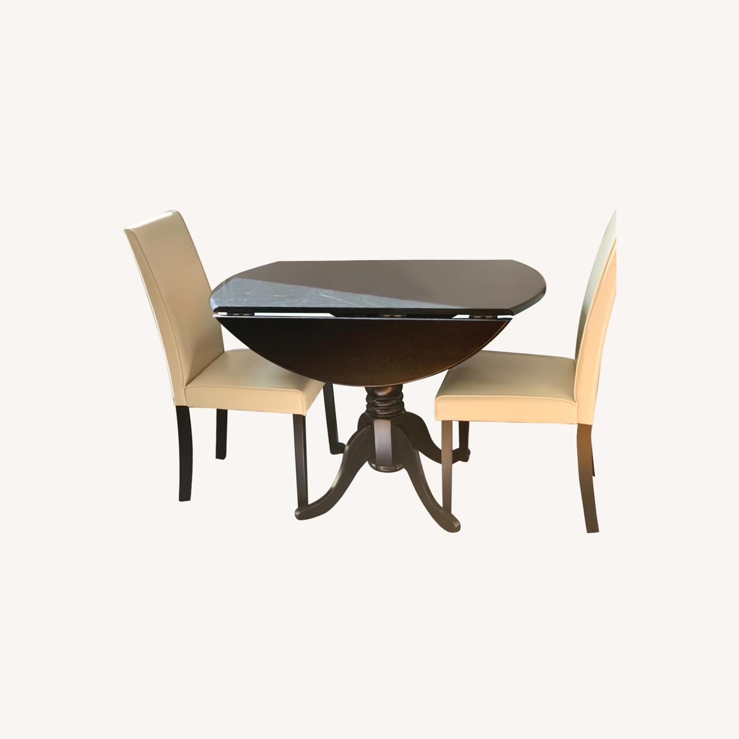 Round Drop Leaf Dining Table Set - image-0