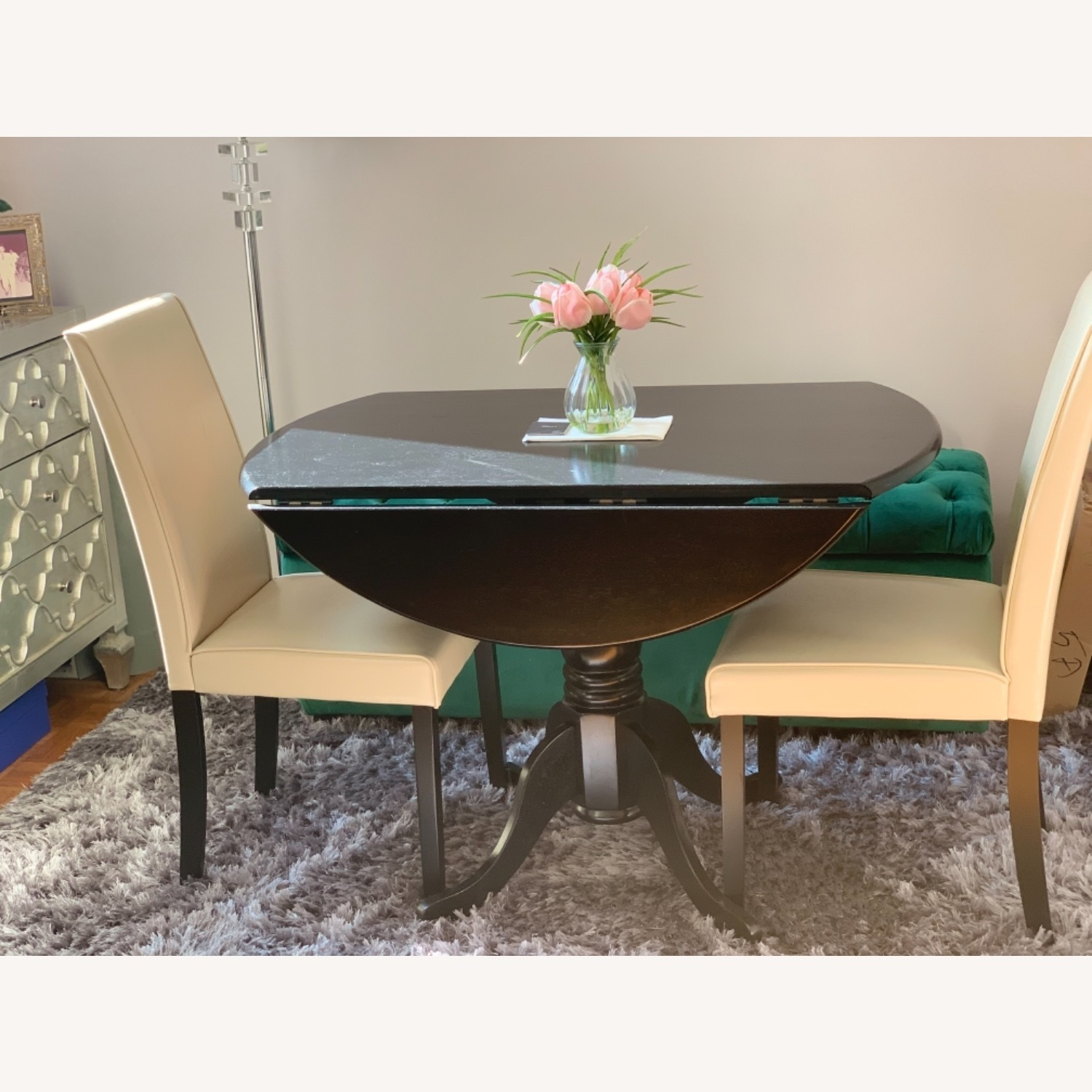 Round Drop Leaf Dining Table Set - image-2