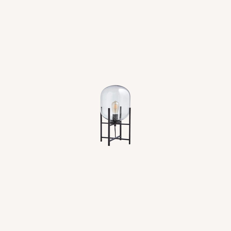 Rivet Modern Industrial Glass Metal Desk Lamp - image-0