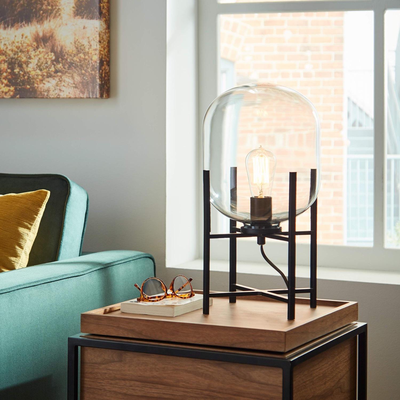 Rivet Modern Industrial Glass Metal Desk Lamp - image-3