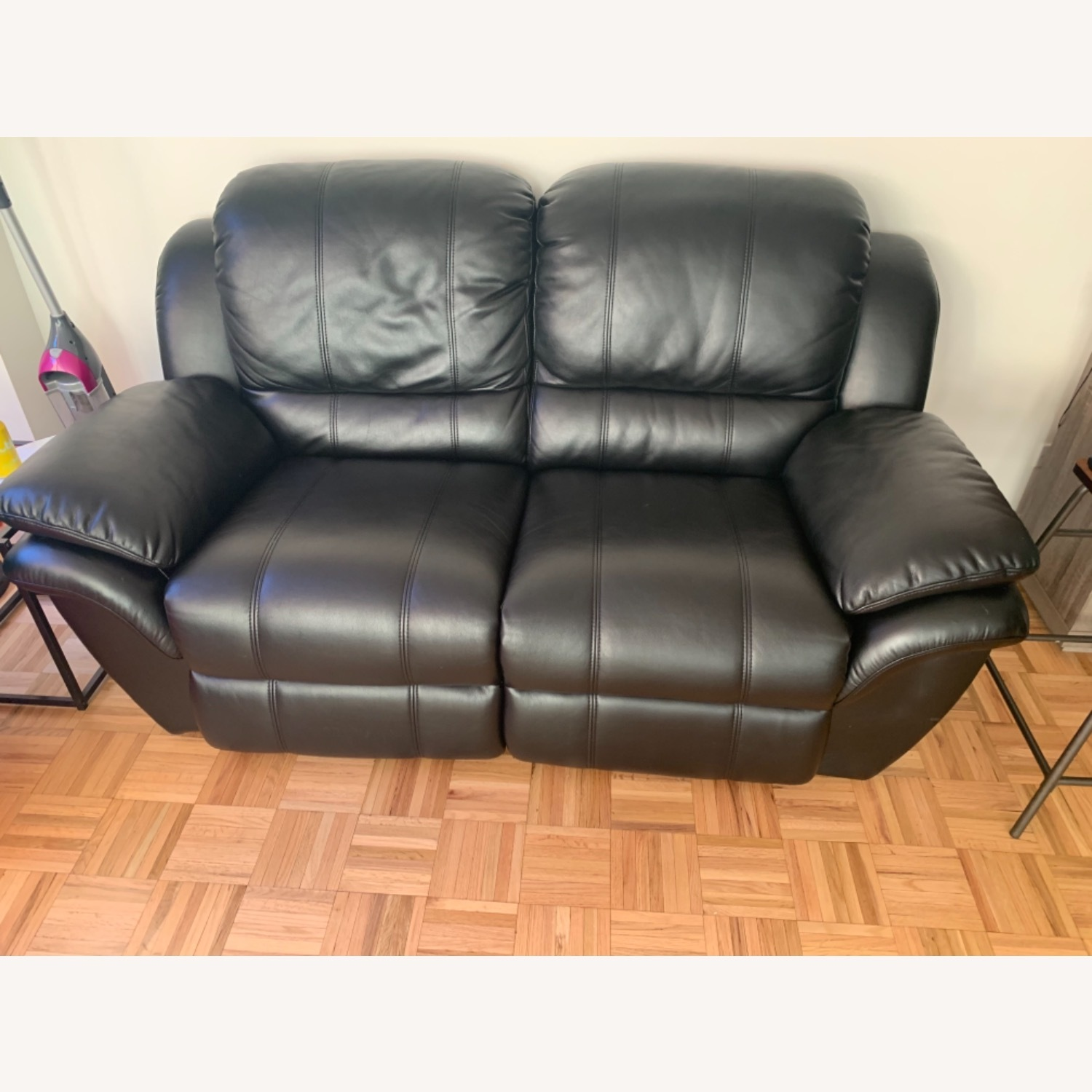 Bobs Black Leather Automatic Recliner Loveseat - image-6