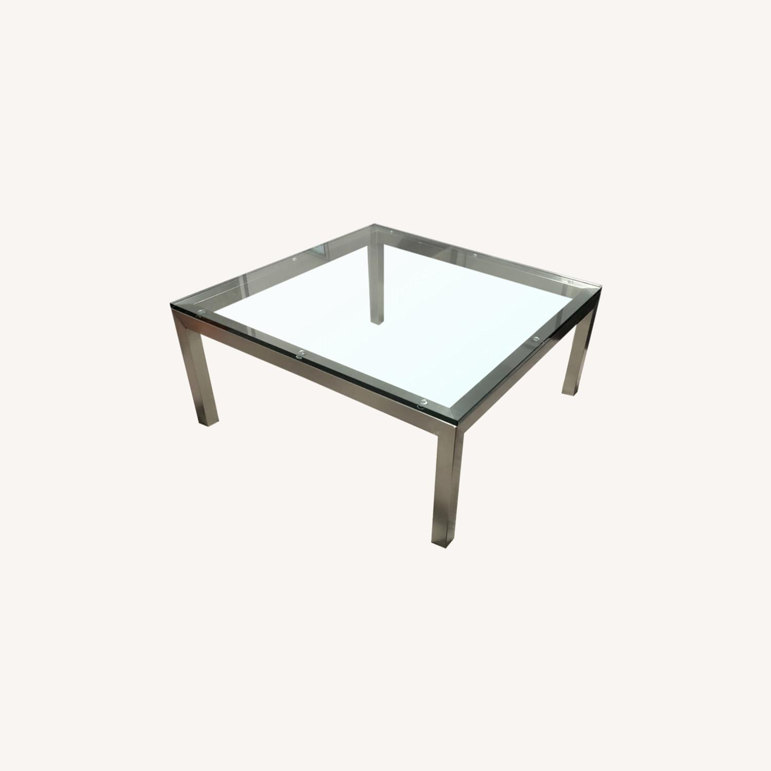 Crate & Barrel Parson's Glass Square Coffee Table - image-0