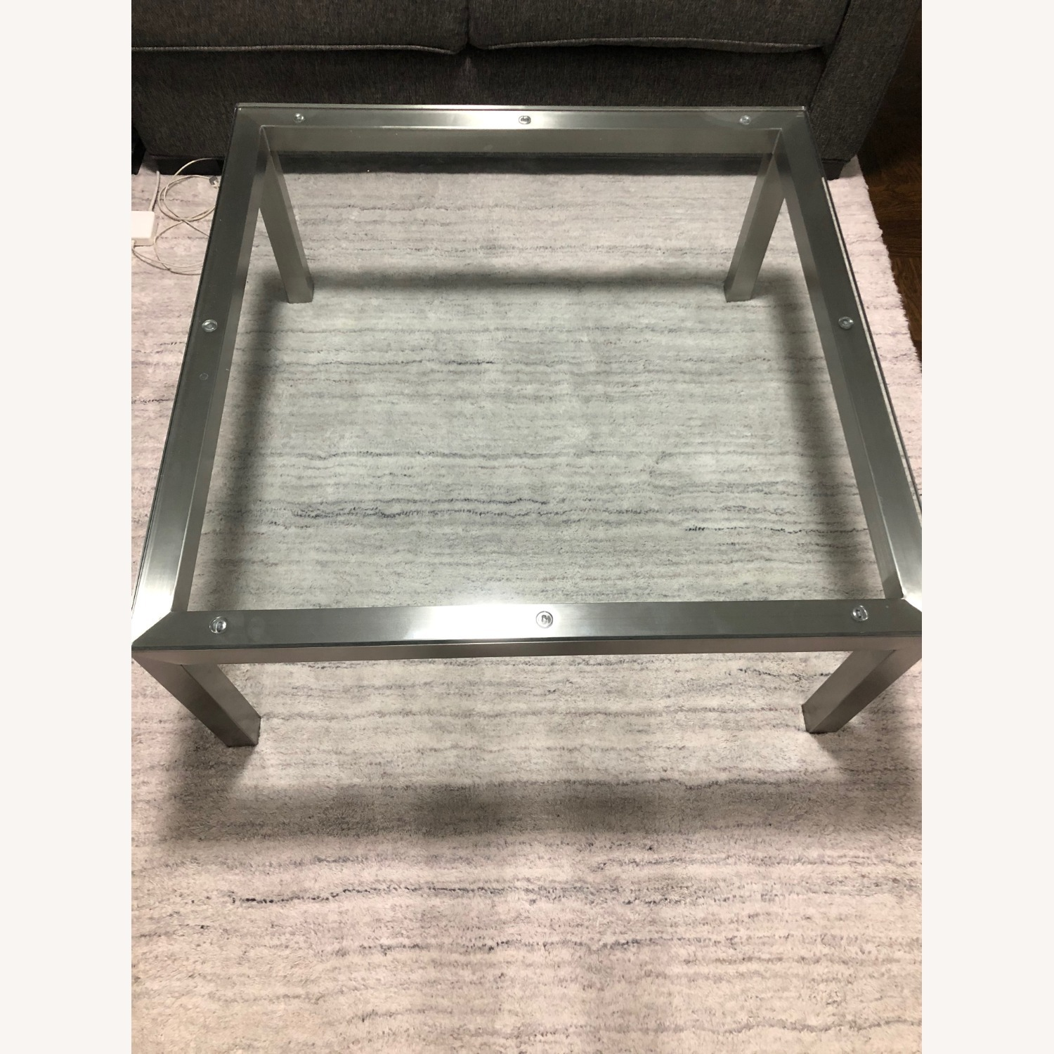 Crate & Barrel Parson's Glass Square Coffee Table - image-2