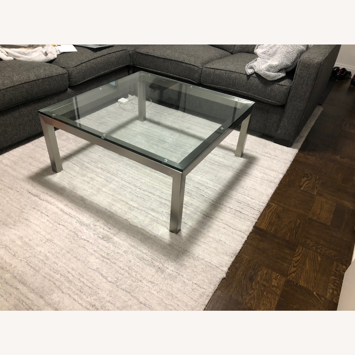 Crate & Barrel Parson's Glass Square Coffee Table - image-1