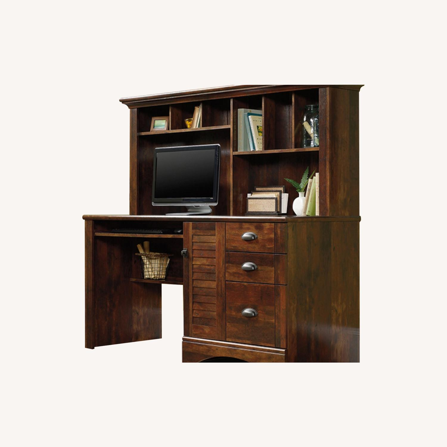 Brown Sauder Harbor View Desk with Hutch - image-0