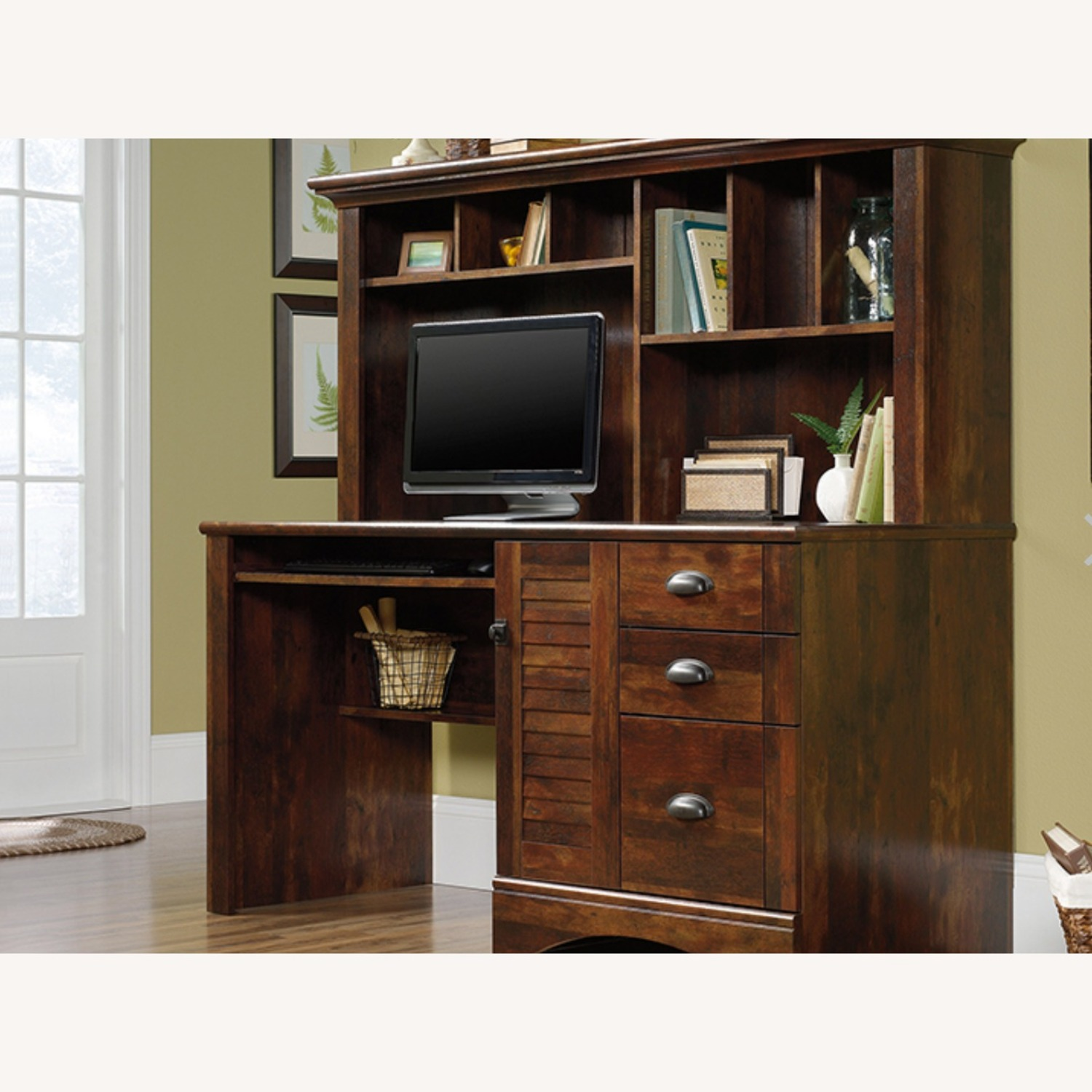 Brown Sauder Harbor View Desk with Hutch - image-1