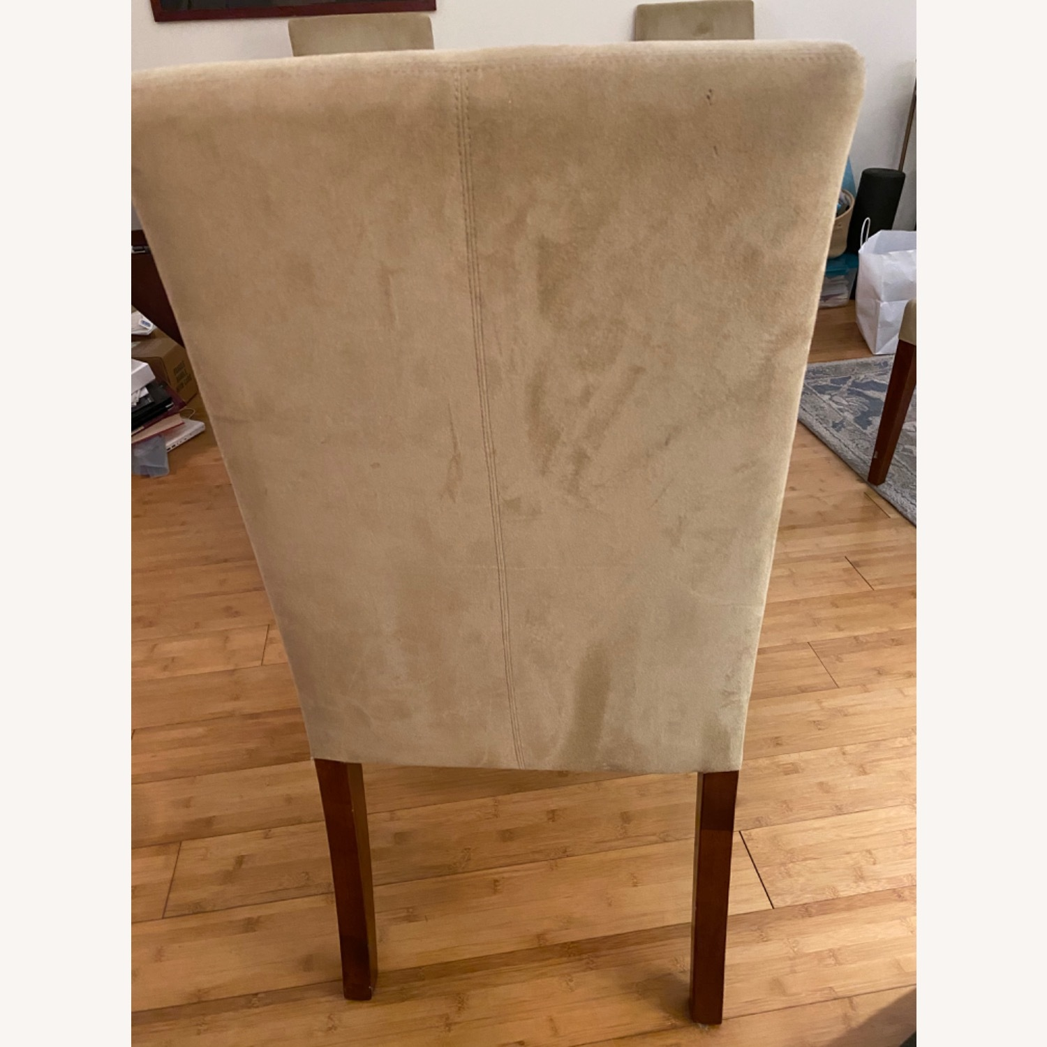 Pottery Barn Suede Chairs - image-3