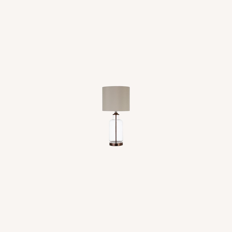 Table Lamp W/ Clear Glass Jar-Like Base - image-3