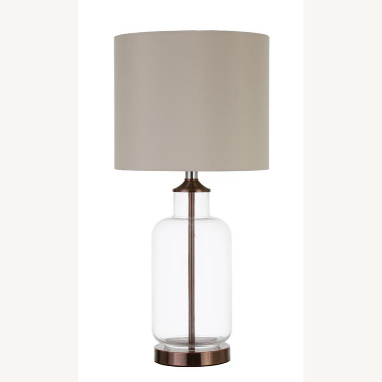 Table Lamp W/ Clear Glass Jar-Like Base - image-2