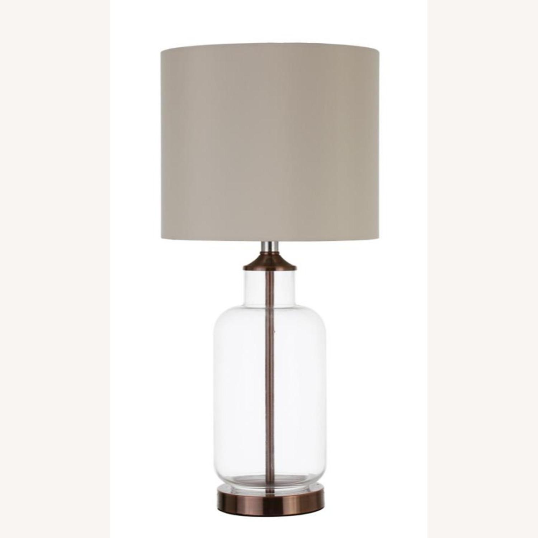Table Lamp W/ Clear Glass Jar-Like Base - image-0