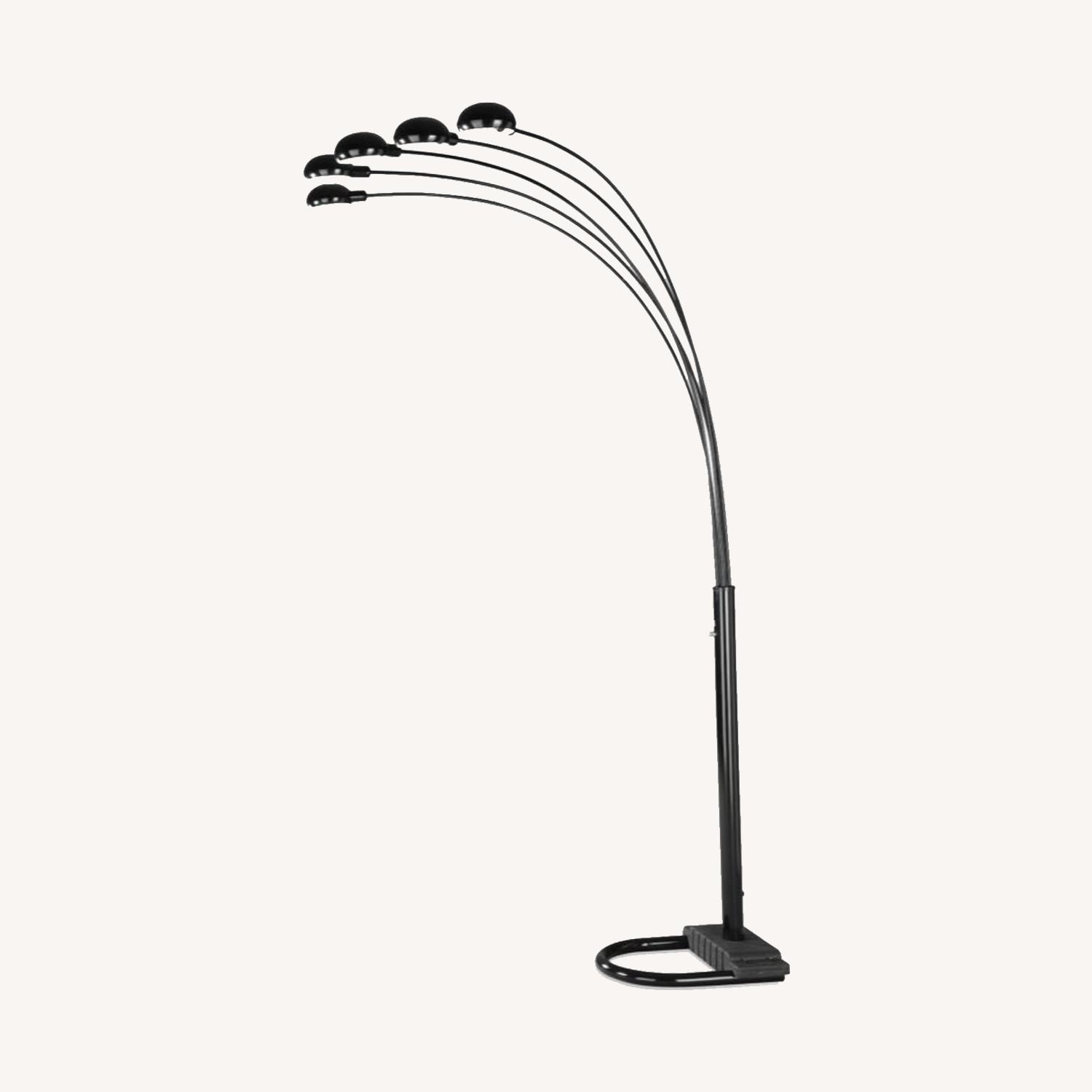 Floor Lamp W/ 5 Dome Shades In Satin Black Finish - image-3