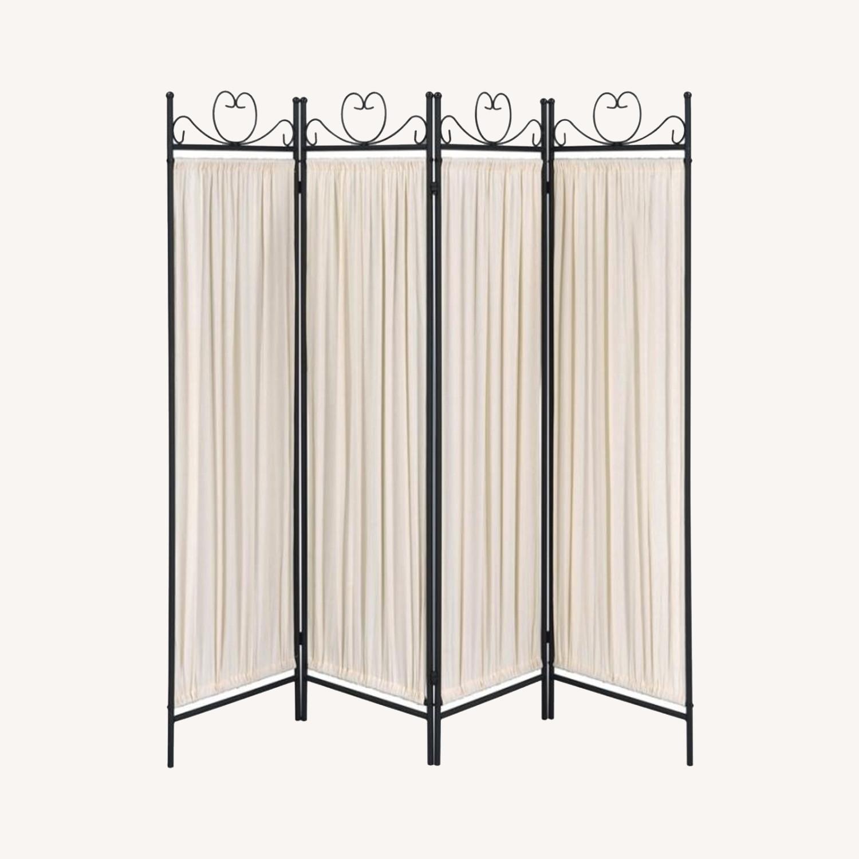 Folding Screen W/ Semi-Opaque Beige Fabric Panels - image-5