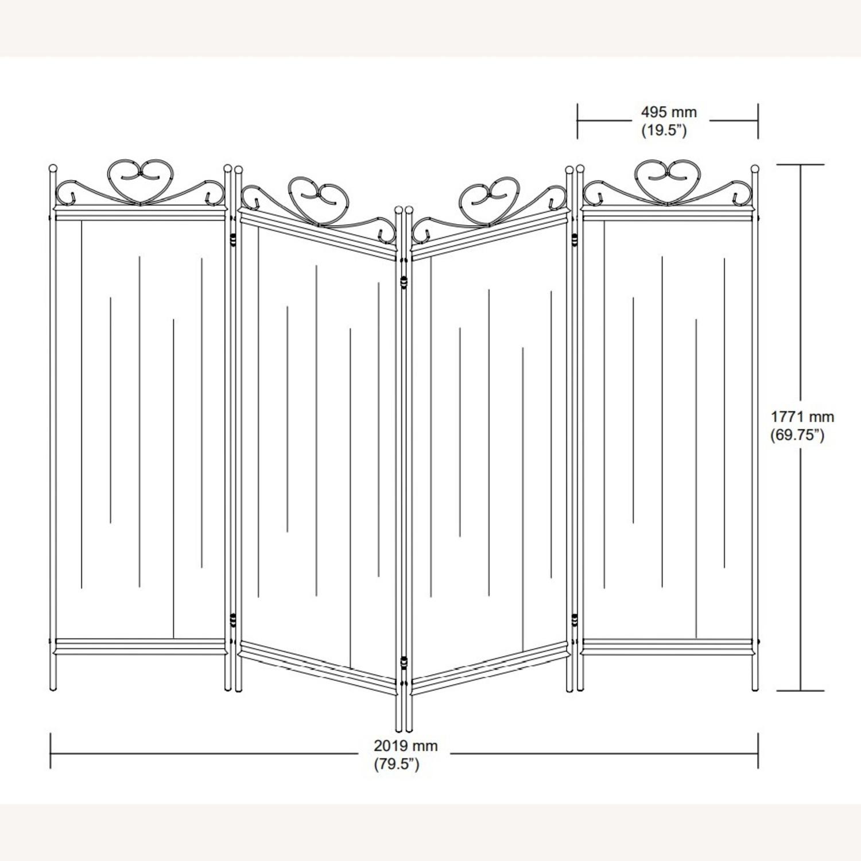 Folding Screen W/ Semi-Opaque Beige Fabric Panels - image-6