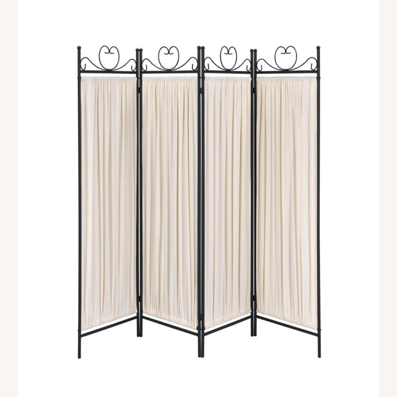 Folding Screen W/ Semi-Opaque Beige Fabric Panels - image-1