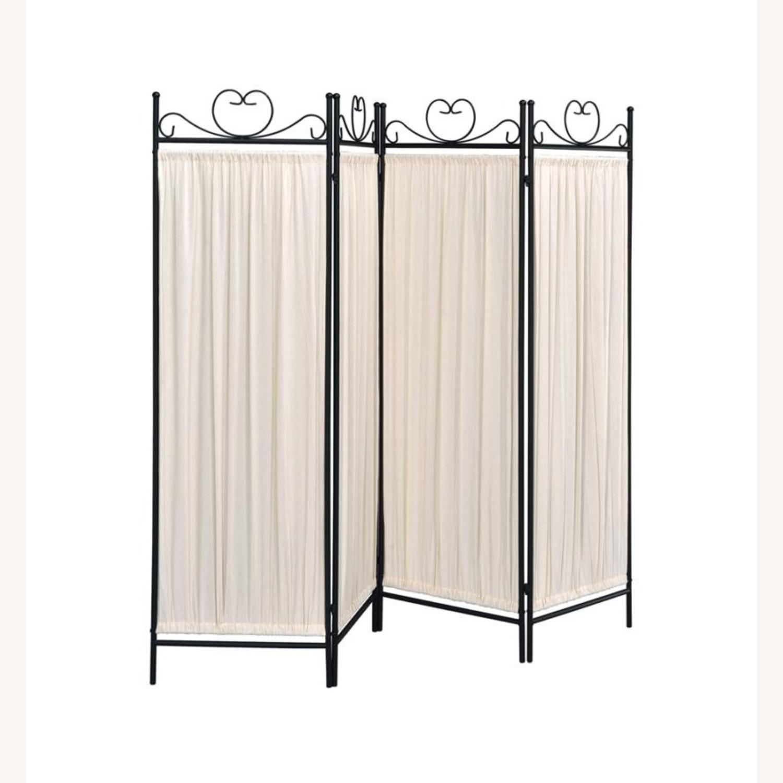 Folding Screen W/ Semi-Opaque Beige Fabric Panels - image-0