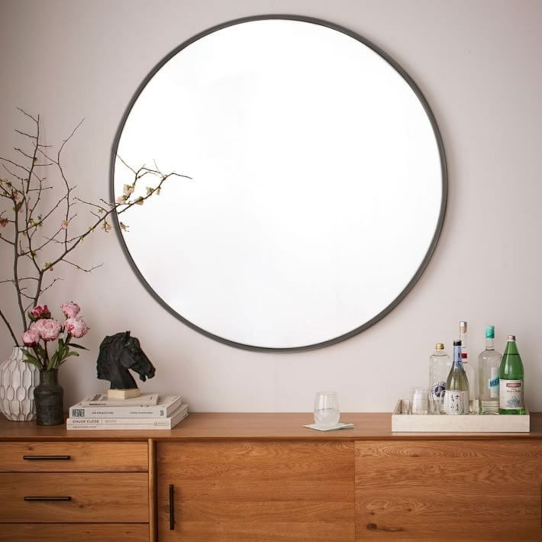 West Elm Metal Framed Mirror, Antiqued Bronze - image-2