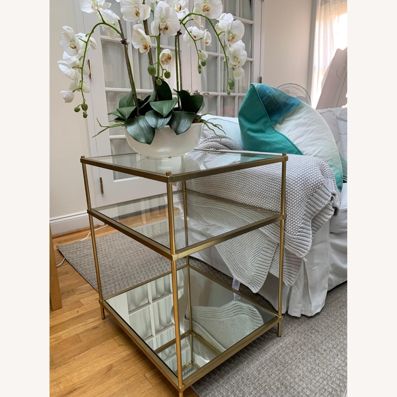 West Elm Glass Side Table - Antique Brass - image-9