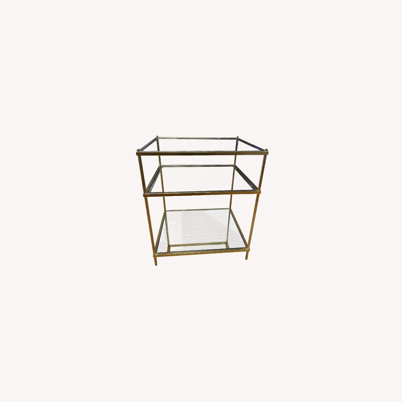 West Elm Glass Side Table - Antique Brass - image-0