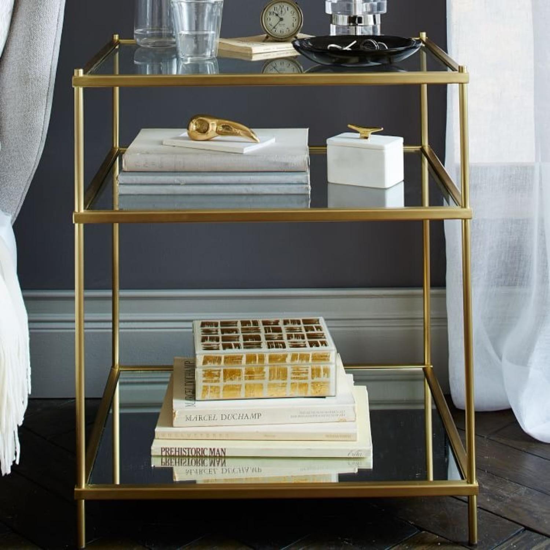 West Elm Glass Side Table - Antique Brass - image-8