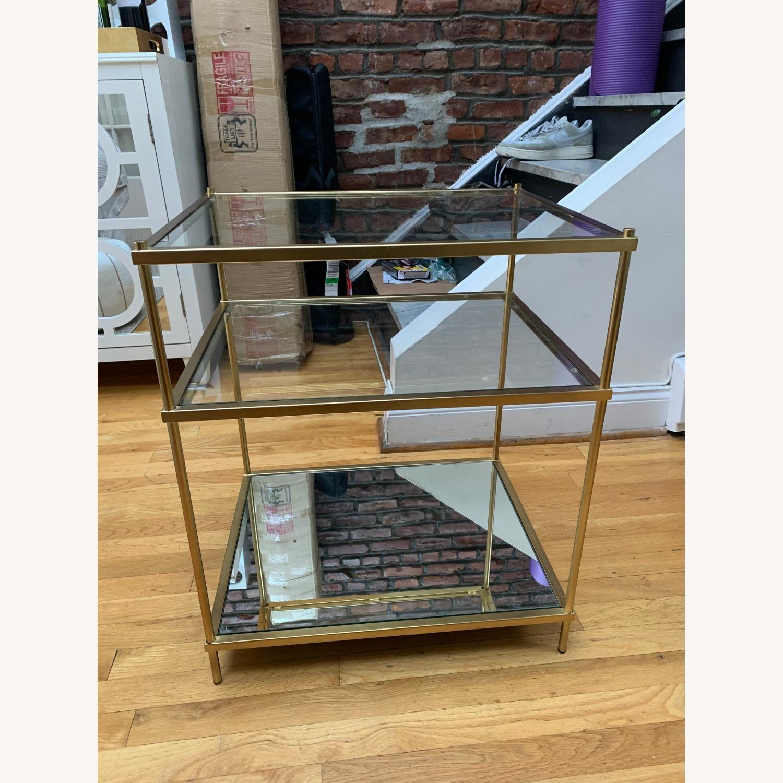 West Elm Glass Side Table - Antique Brass - image-2