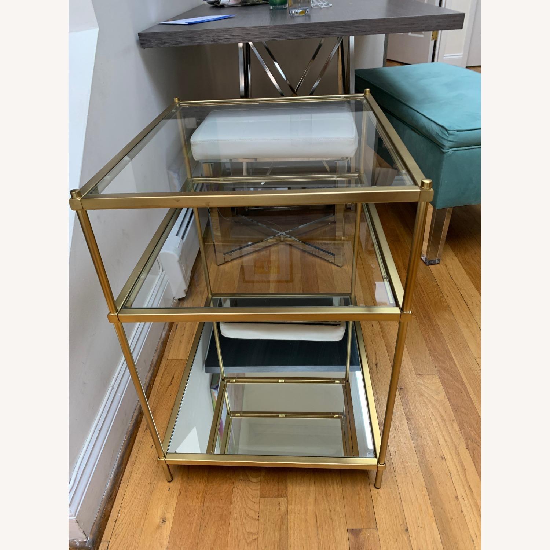 West Elm Glass Side Table - Antique Brass - image-4