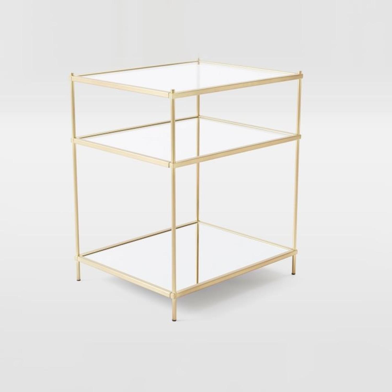 West Elm Glass Side Table - Antique Brass - image-5