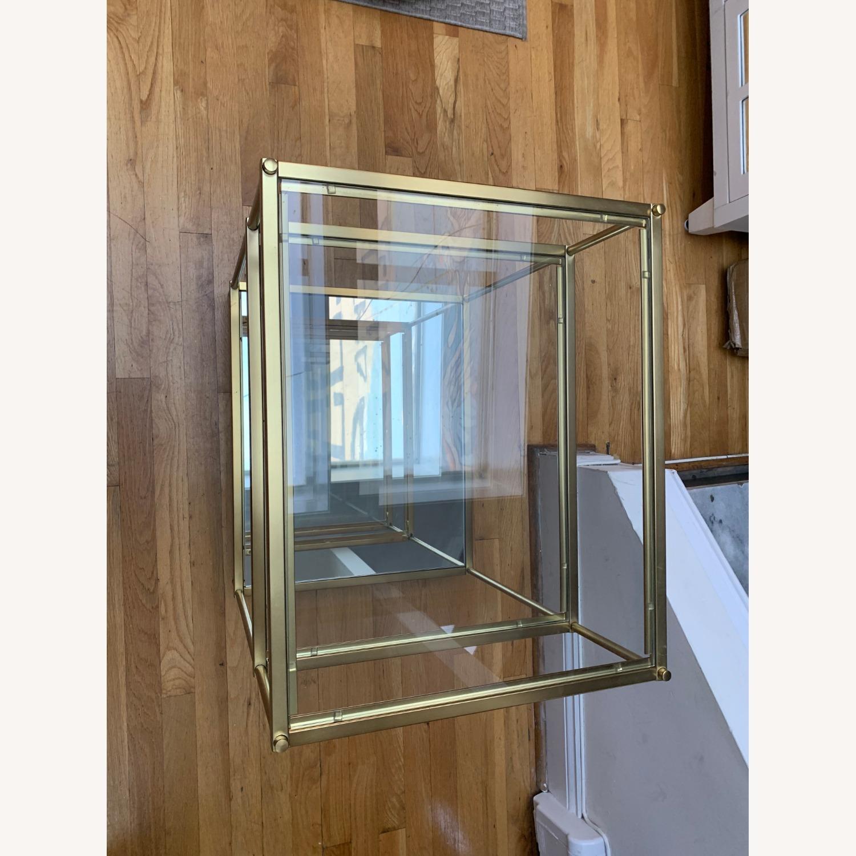 West Elm Glass Side Table - Antique Brass - image-3