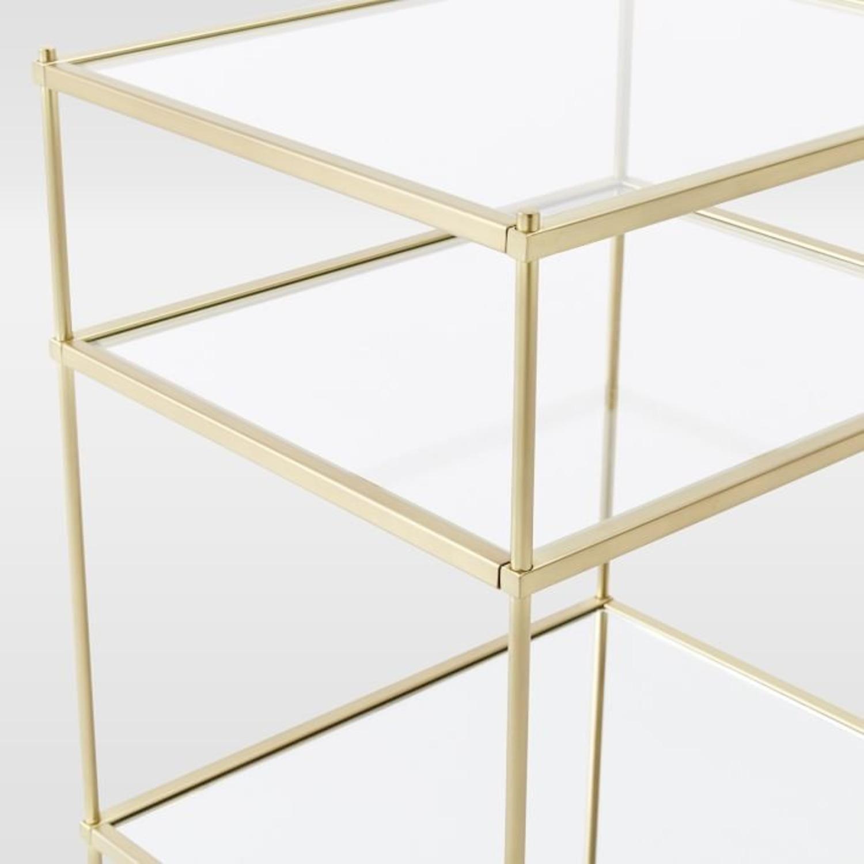 West Elm Glass Side Table - Antique Brass - image-7