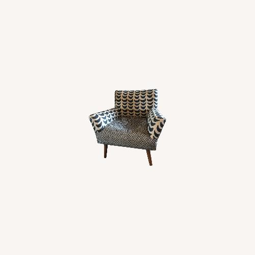 Used Anthropologie Black and Tan Linen Armchair for sale on AptDeco