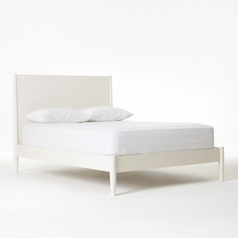 West Elm Mid Century Bed Frame, King, White - image-1