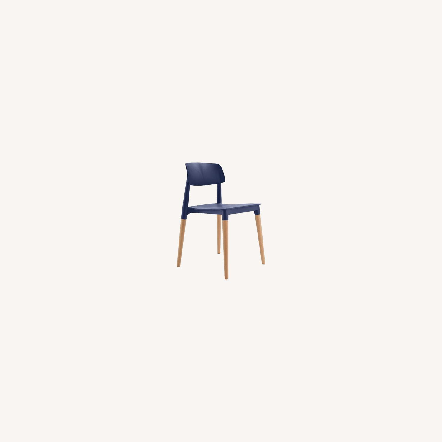 Navy Blue and Natural Wood Chairs - image-0