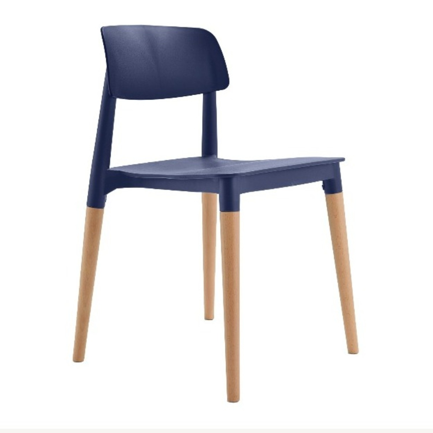 Navy Blue and Natural Wood Chairs - image-1