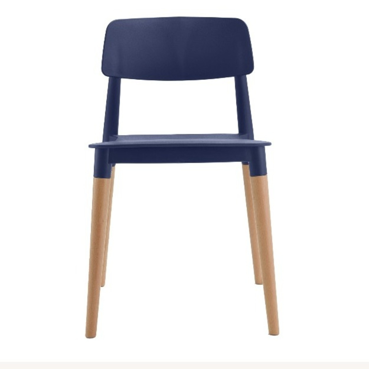 Navy Blue and Natural Wood Chairs - image-3