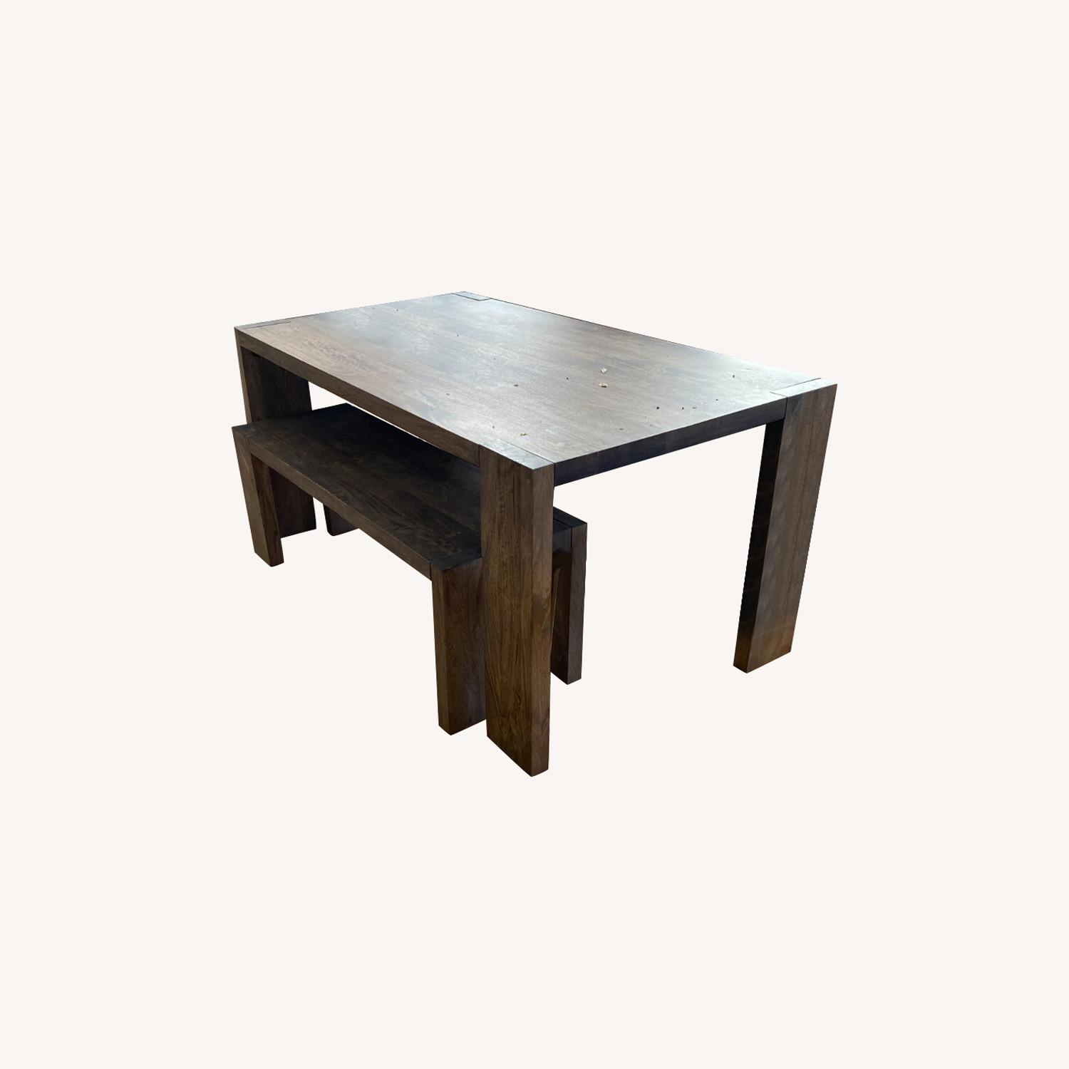 CB2 Solid Wood Blox Dining Table & Bench Set - image-0