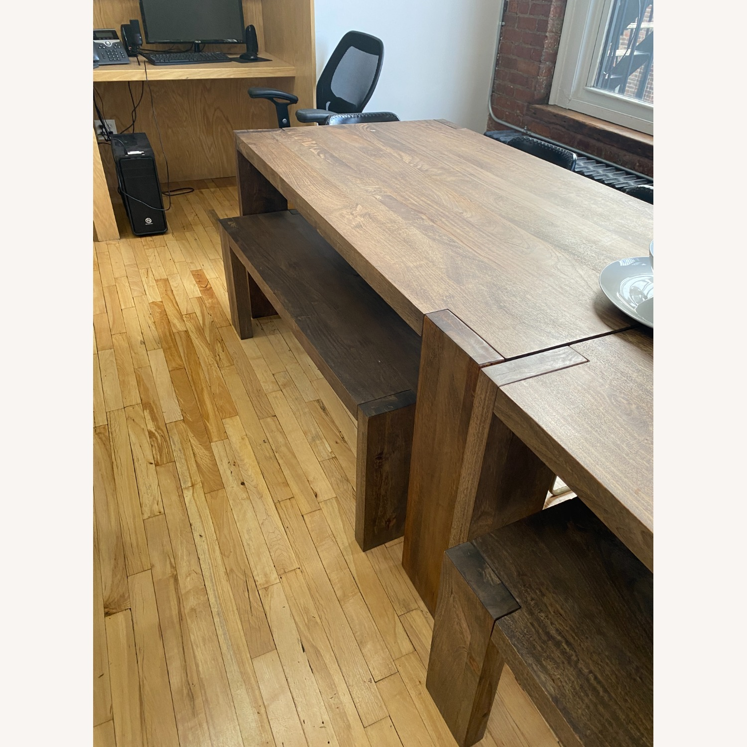 CB2 Solid Wood Blox Dining Table & Bench Set - image-4