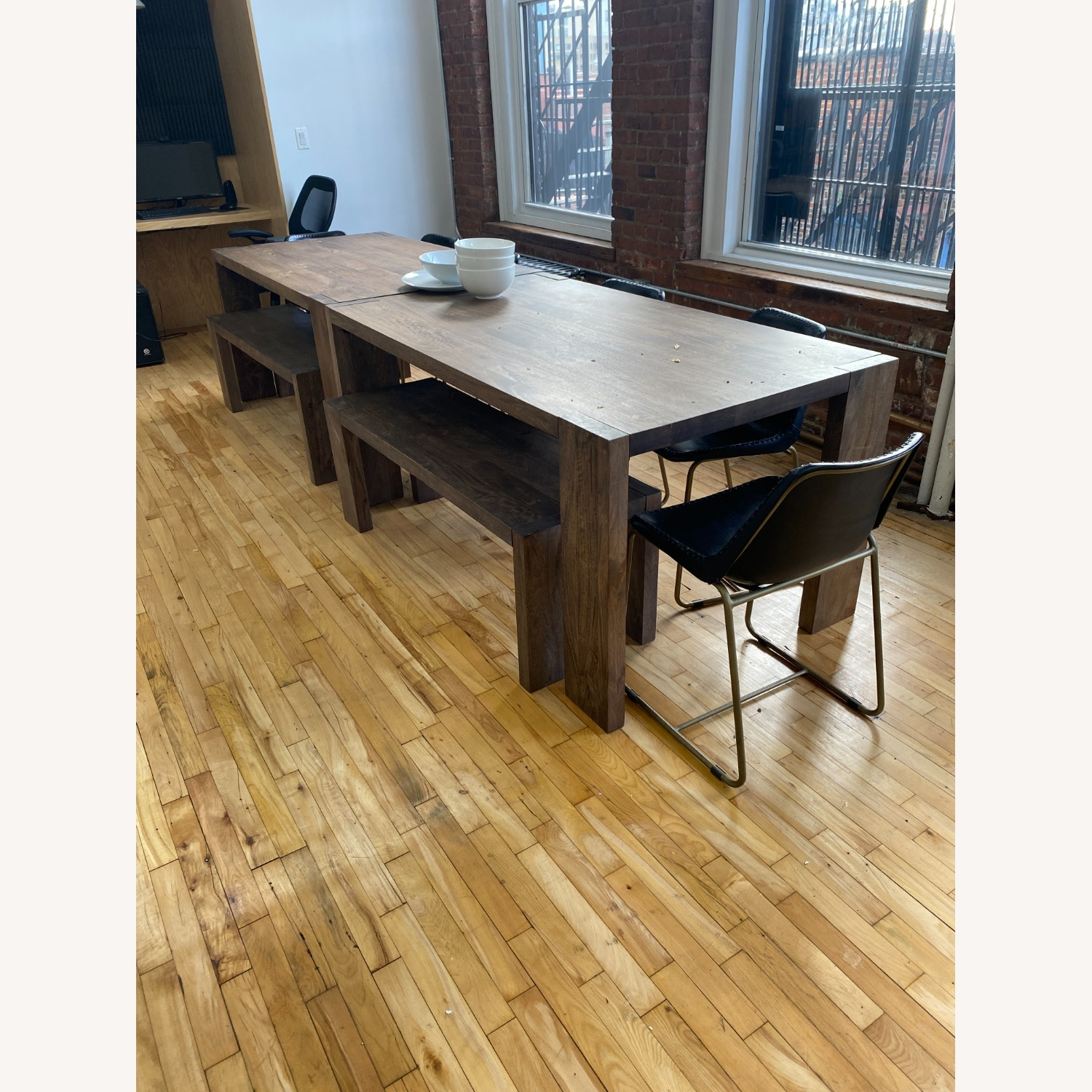 CB2 Solid Wood Blox Dining Table & Bench Set - image-5