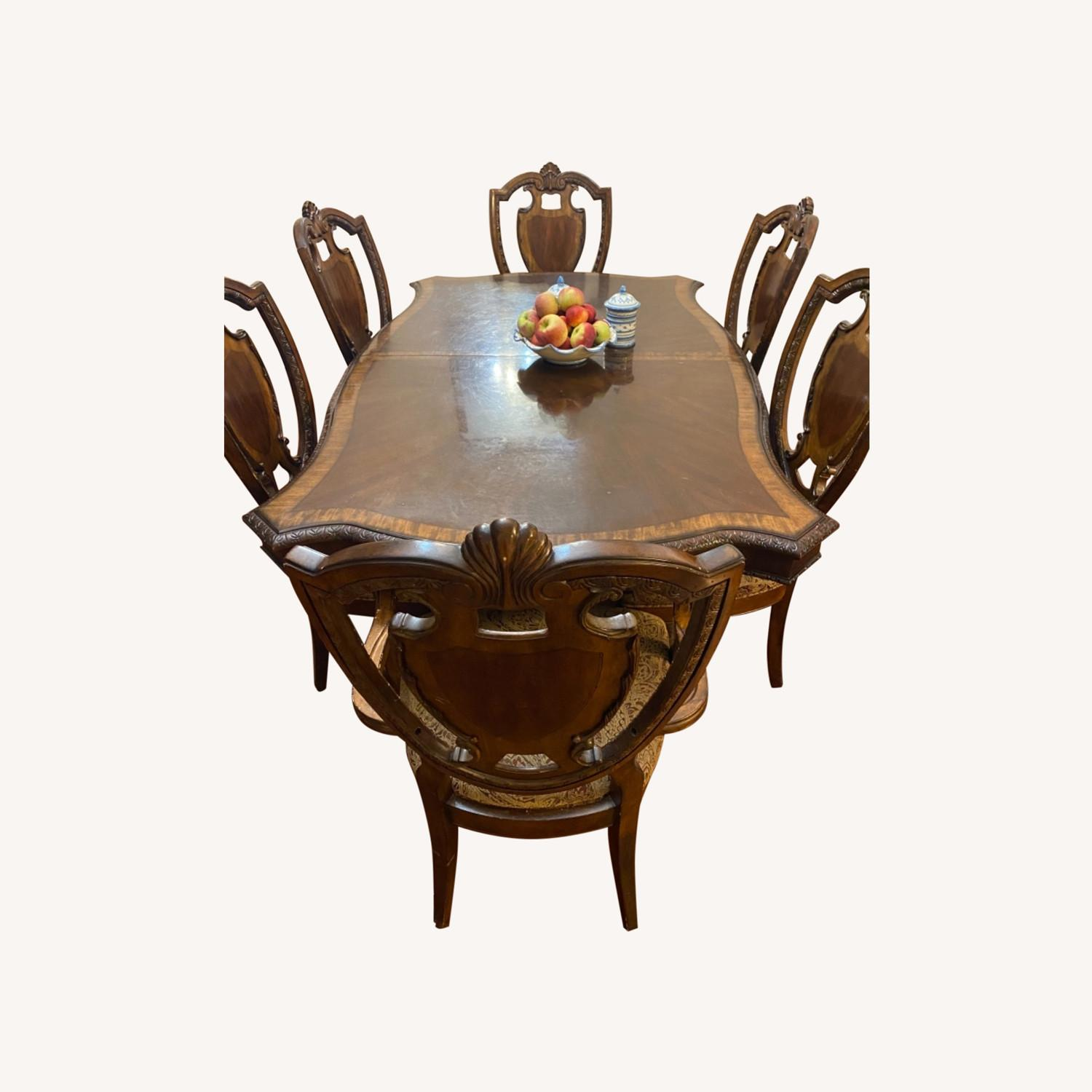 Wooden Dining Room Table Set of 9 Pieces - image-0