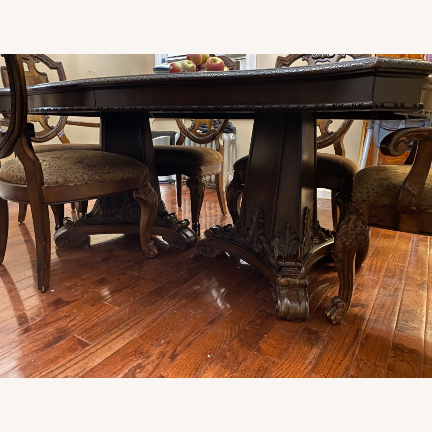 Wooden Dining Room Table Set of 9 Pieces - image-7
