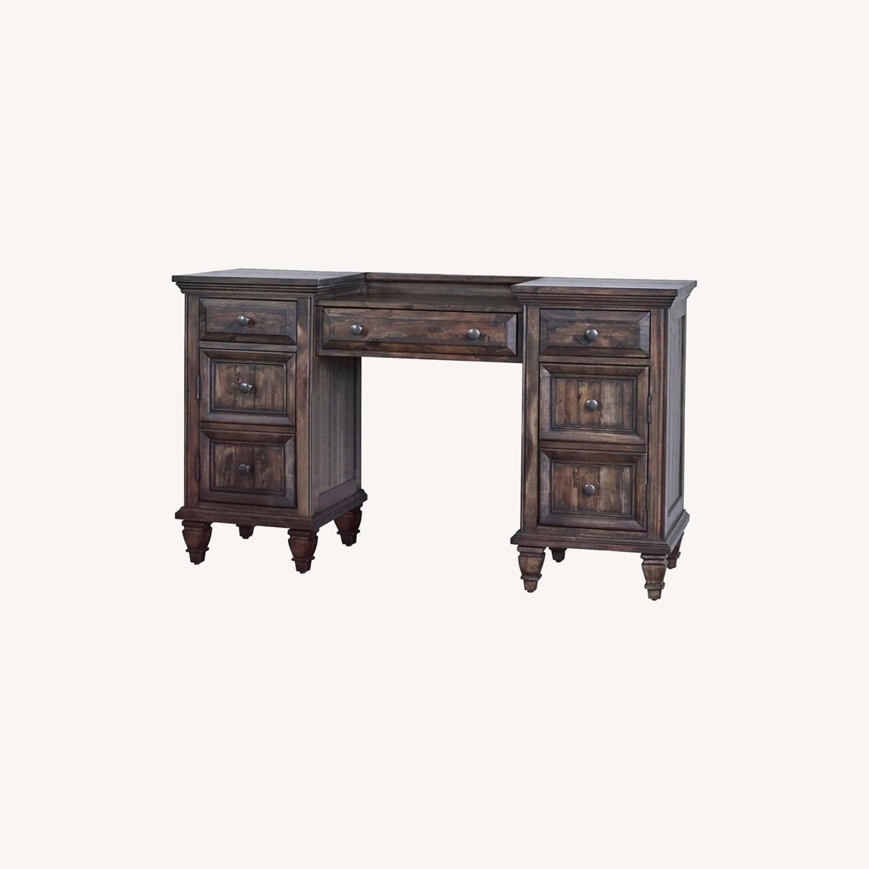 Vanity Desk In Weathered Burnished Brown Finish - image-3